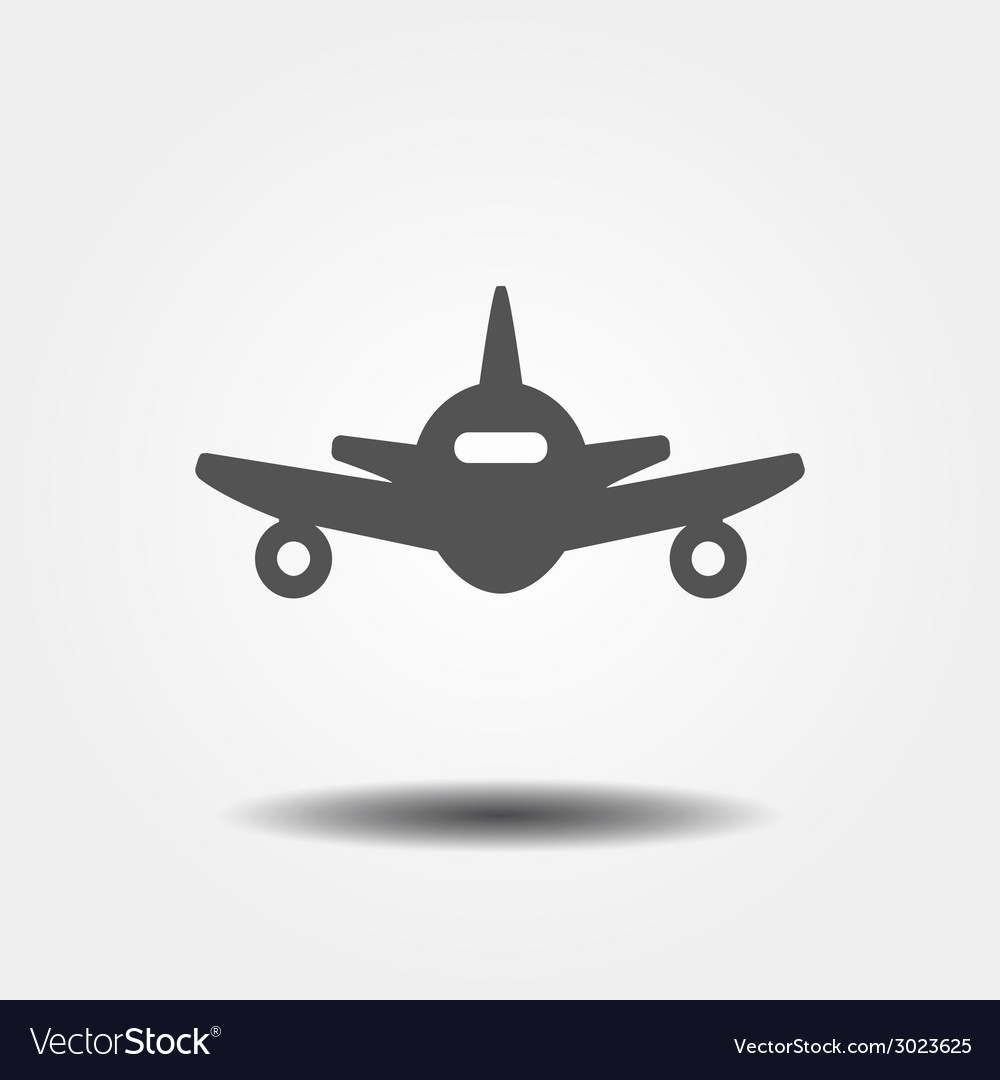 Flat gray plane icon vector | Price: 1 Credit (USD $1)