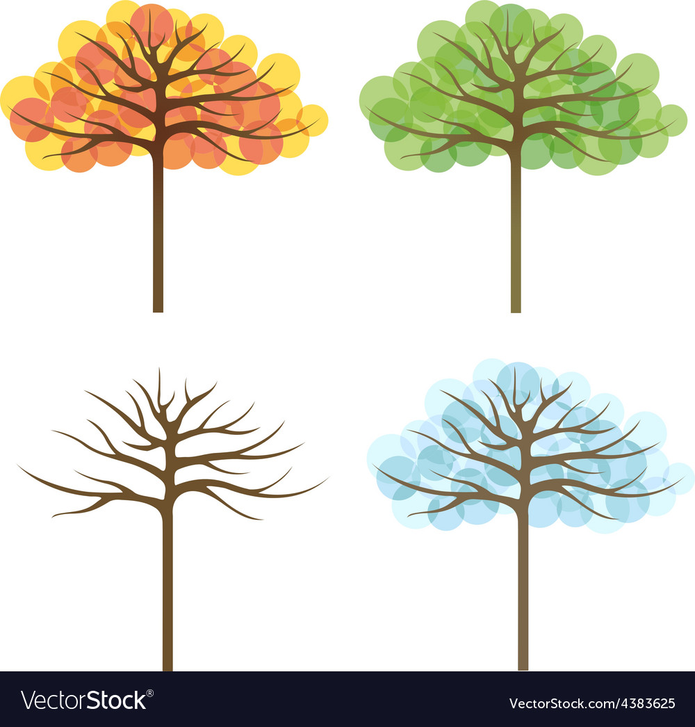 Four trees of different seasons vector | Price: 1 Credit (USD $1)