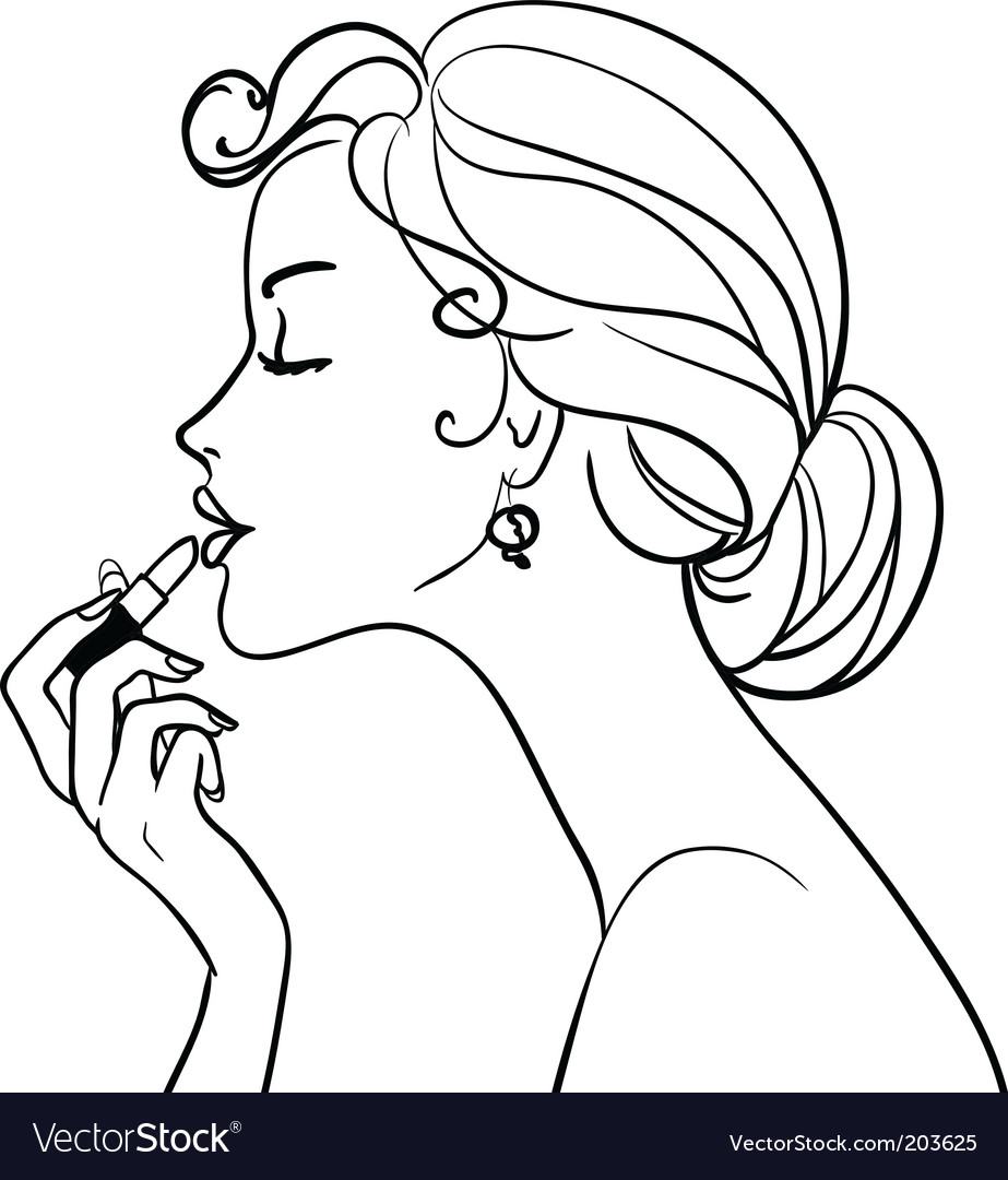 Girl with lipstick vector | Price: 1 Credit (USD $1)