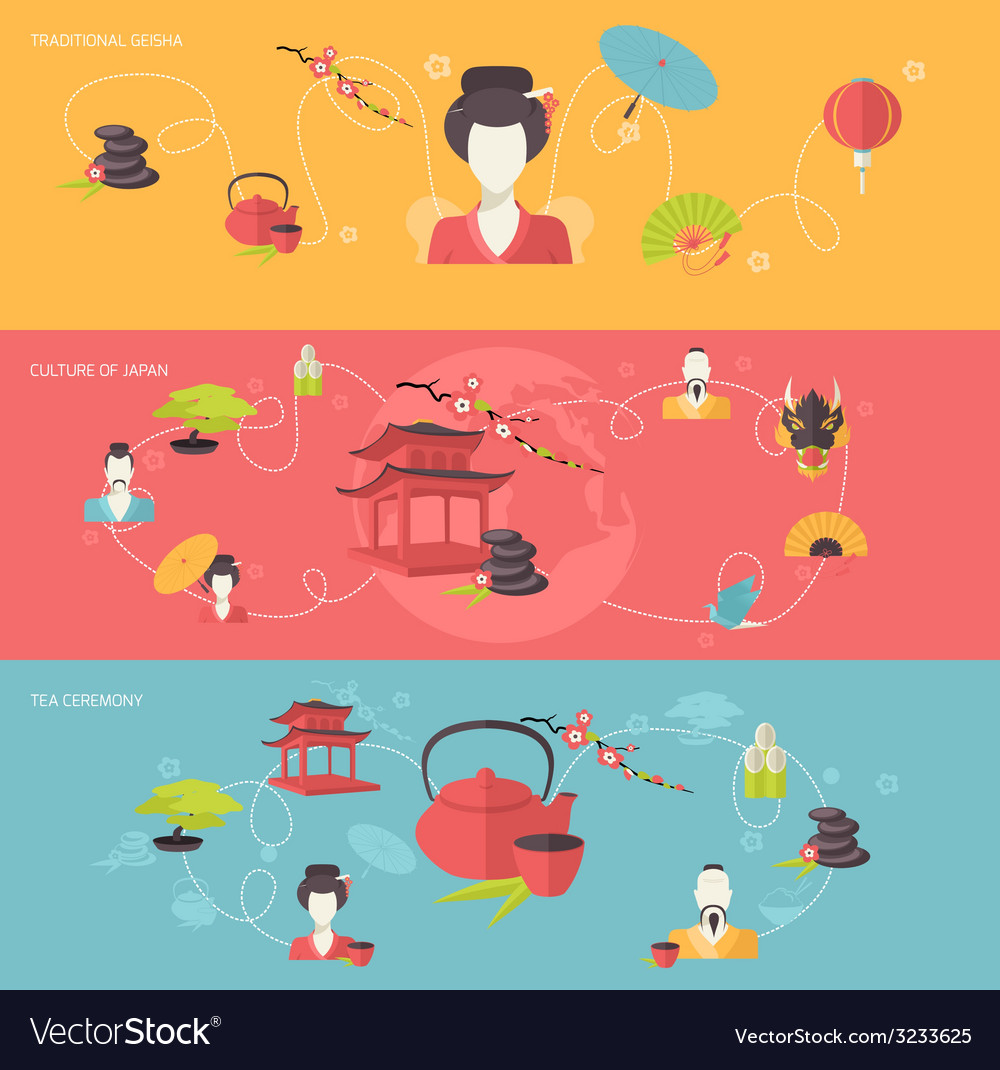 Japanese banner set vector | Price: 1 Credit (USD $1)