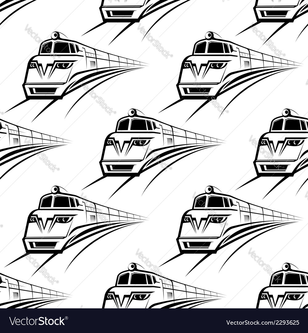 Modern train seamless pattern vector | Price: 1 Credit (USD $1)