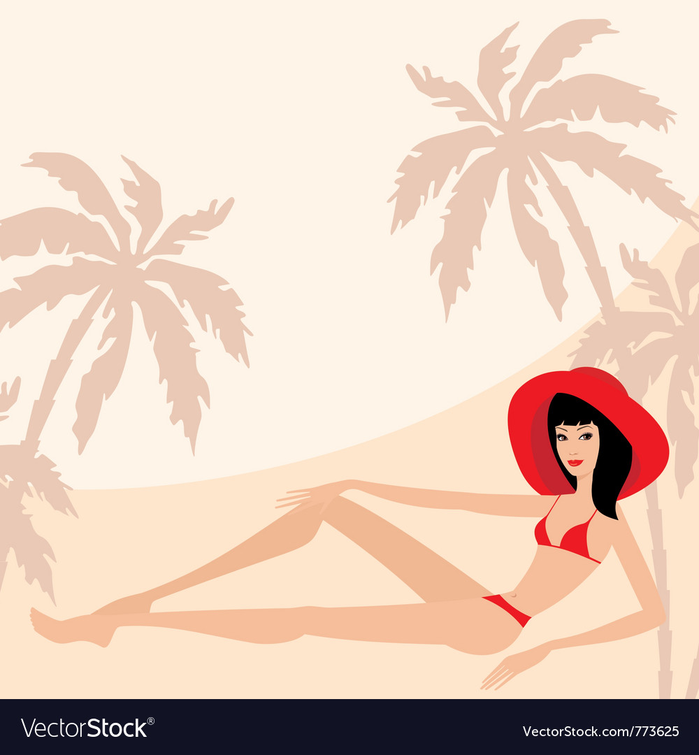 Palm trees and woman vector | Price: 3 Credit (USD $3)