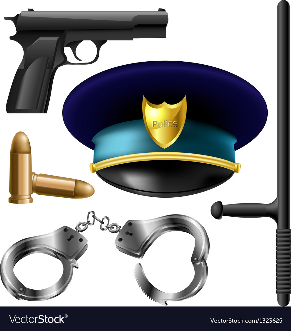 Police item set vector | Price: 3 Credit (USD $3)