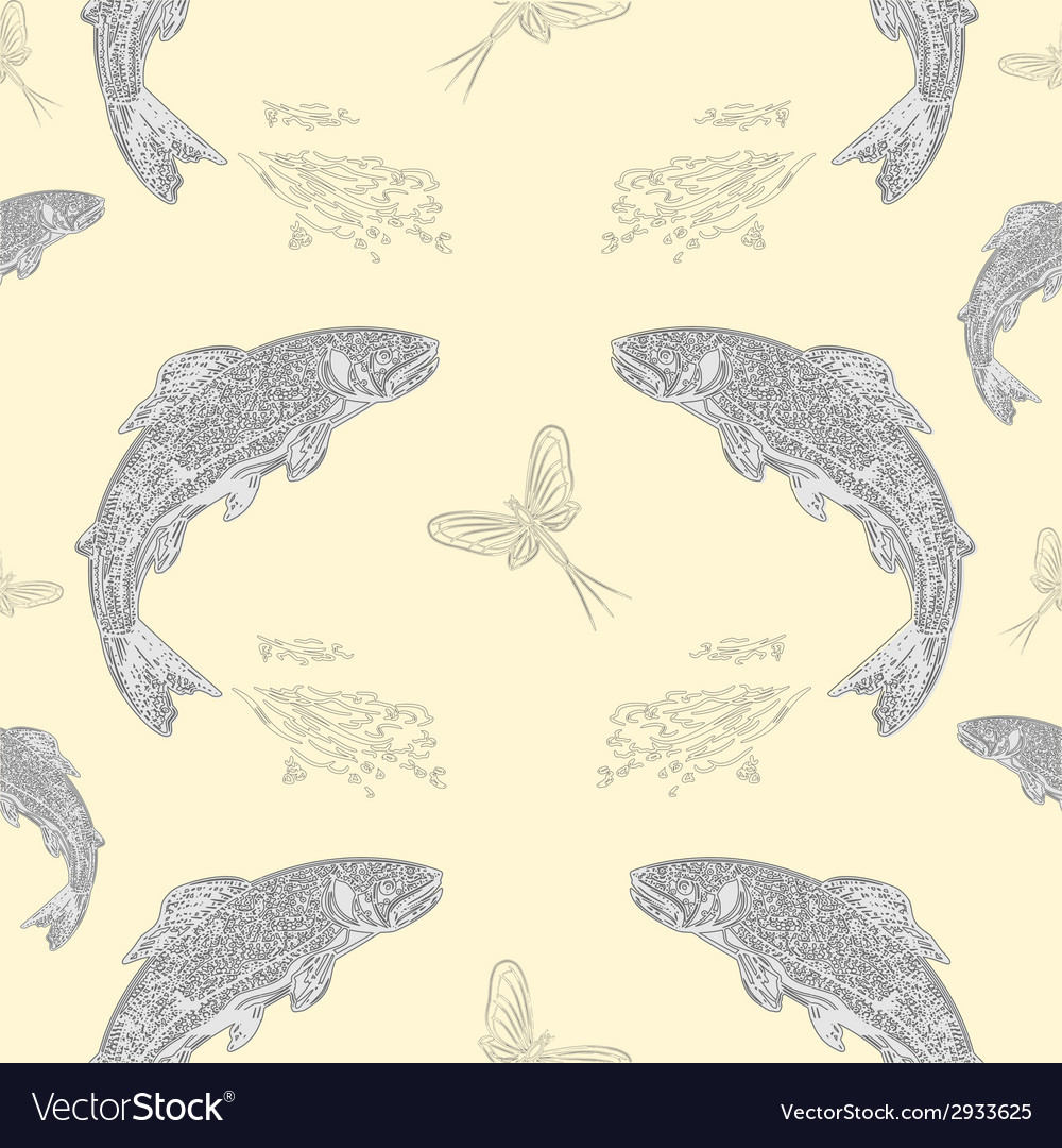 Seamless texture leaping salmon vintage vector | Price: 1 Credit (USD $1)