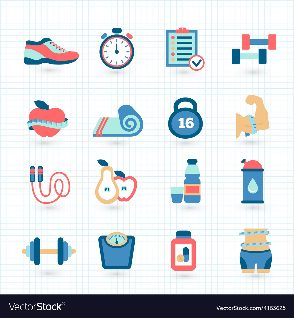 Set of fitness flat icons vector | Price: 1 Credit (USD $1)