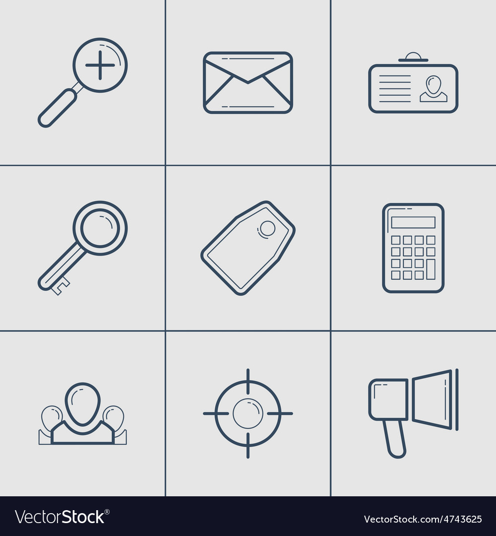 Set of modern thin line icons mail tag calculator vector | Price: 1 Credit (USD $1)