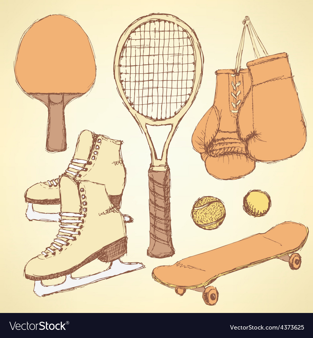 Sketch sport equipment vector | Price: 1 Credit (USD $1)