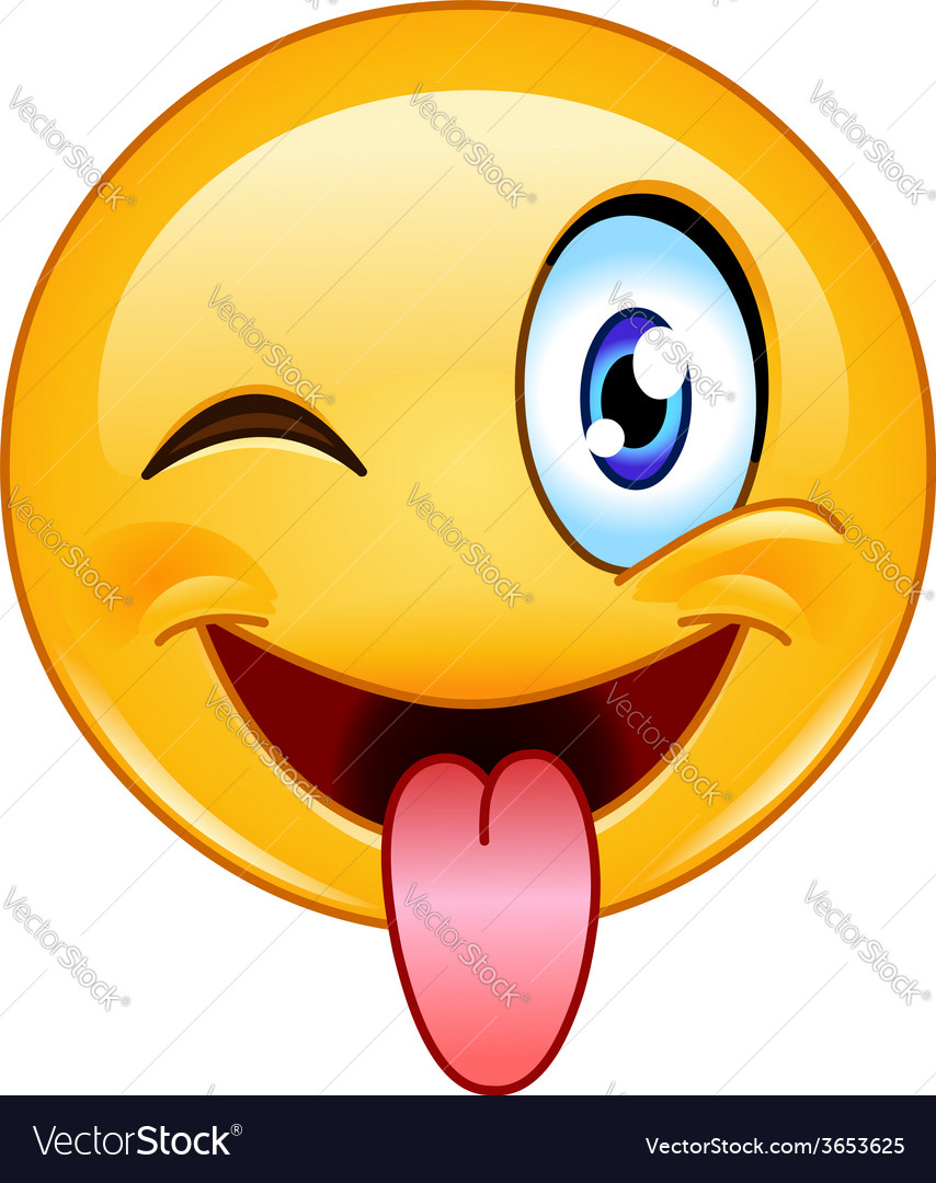 Stuck out tongue and winking eye emoticon vector   Price: 1 Credit (USD $1)