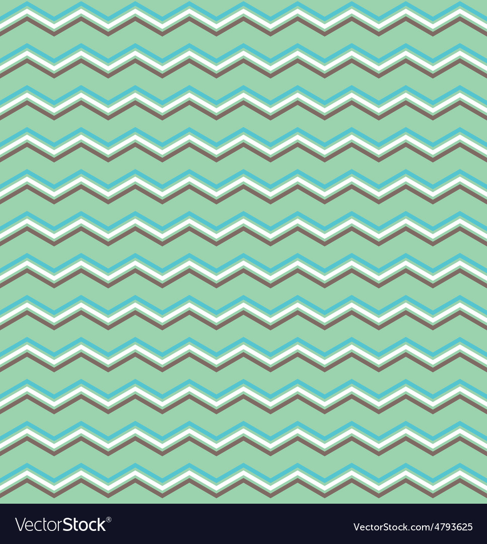 Tile white btown blue and green zig zag pattern vector | Price: 1 Credit (USD $1)