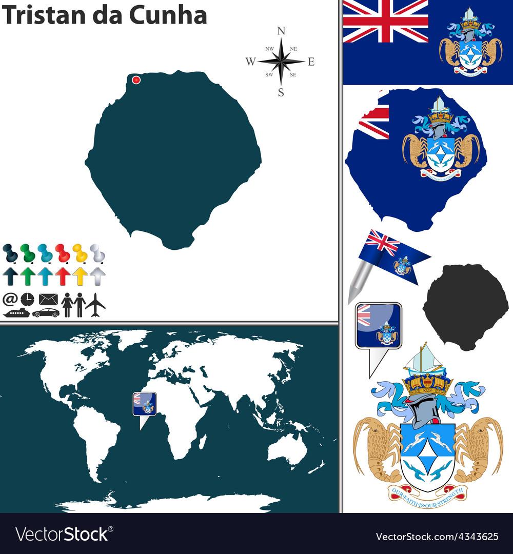Tristan da cunha map vector | Price: 1 Credit (USD $1)