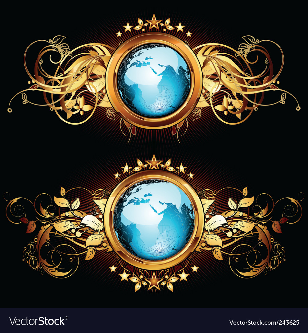 World with ornate vector | Price: 1 Credit (USD $1)