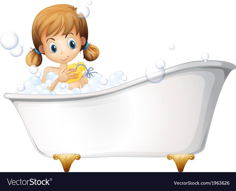 A girl on the bathtub vector | Price: 3 Credit (USD $3)