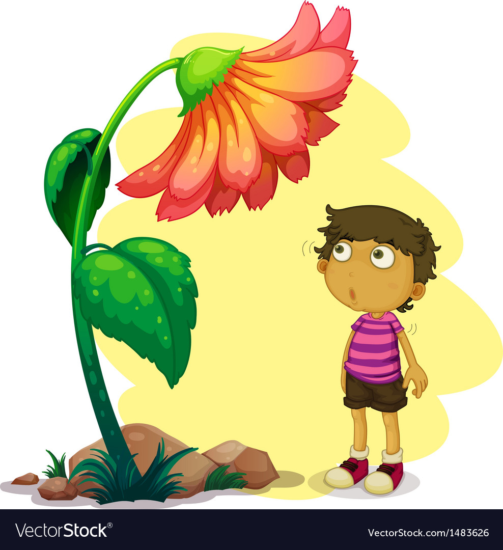 A little boy looking at the giant flower vector | Price: 1 Credit (USD $1)