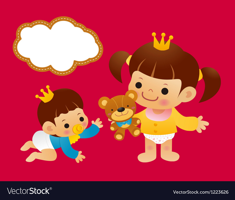 Baby boys and baby girls in diapers vector | Price: 3 Credit (USD $3)