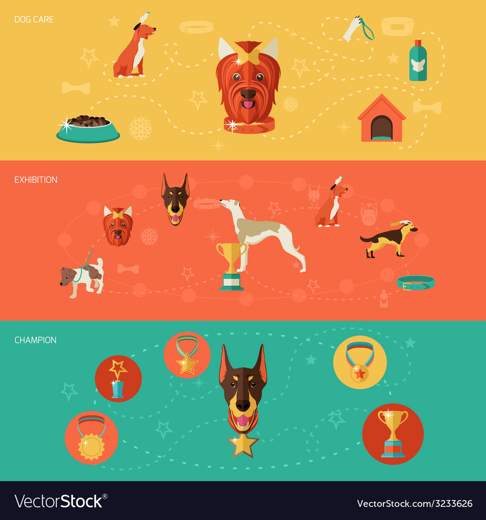 Dog icons banner set vector | Price: 1 Credit (USD $1)