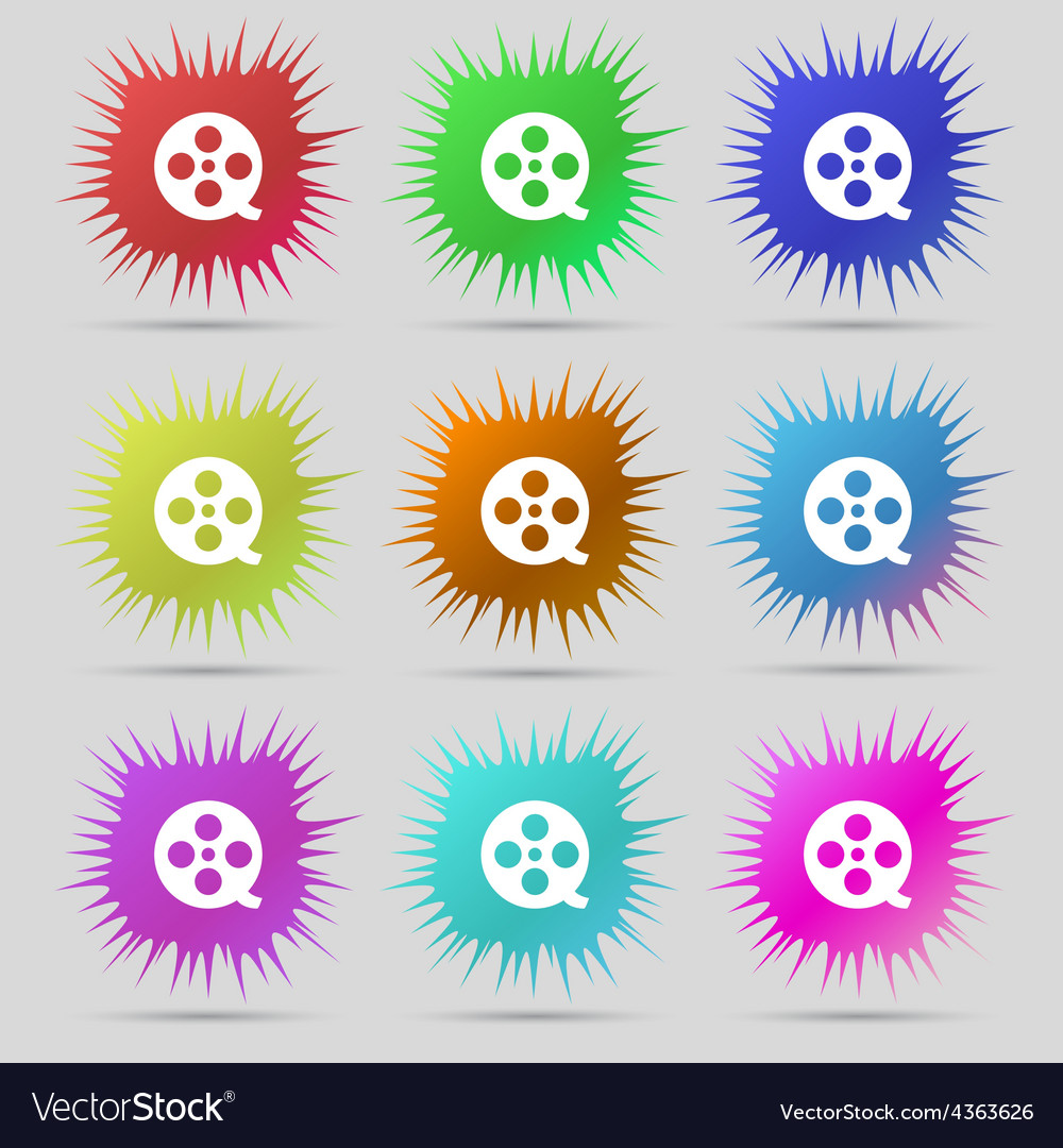 Film icon sign a set of nine original needle vector | Price: 1 Credit (USD $1)