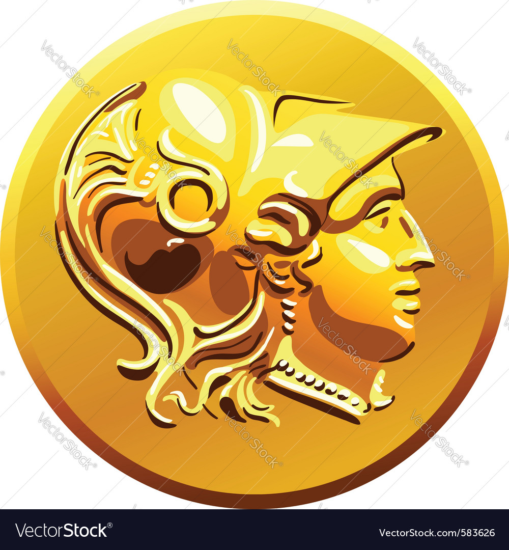 Greek money gold coin vector | Price: 1 Credit (USD $1)