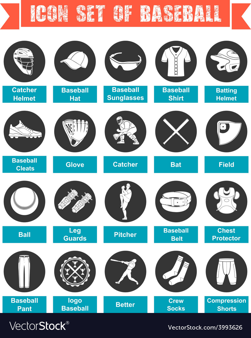 Icons baseball with titles vector | Price: 1 Credit (USD $1)