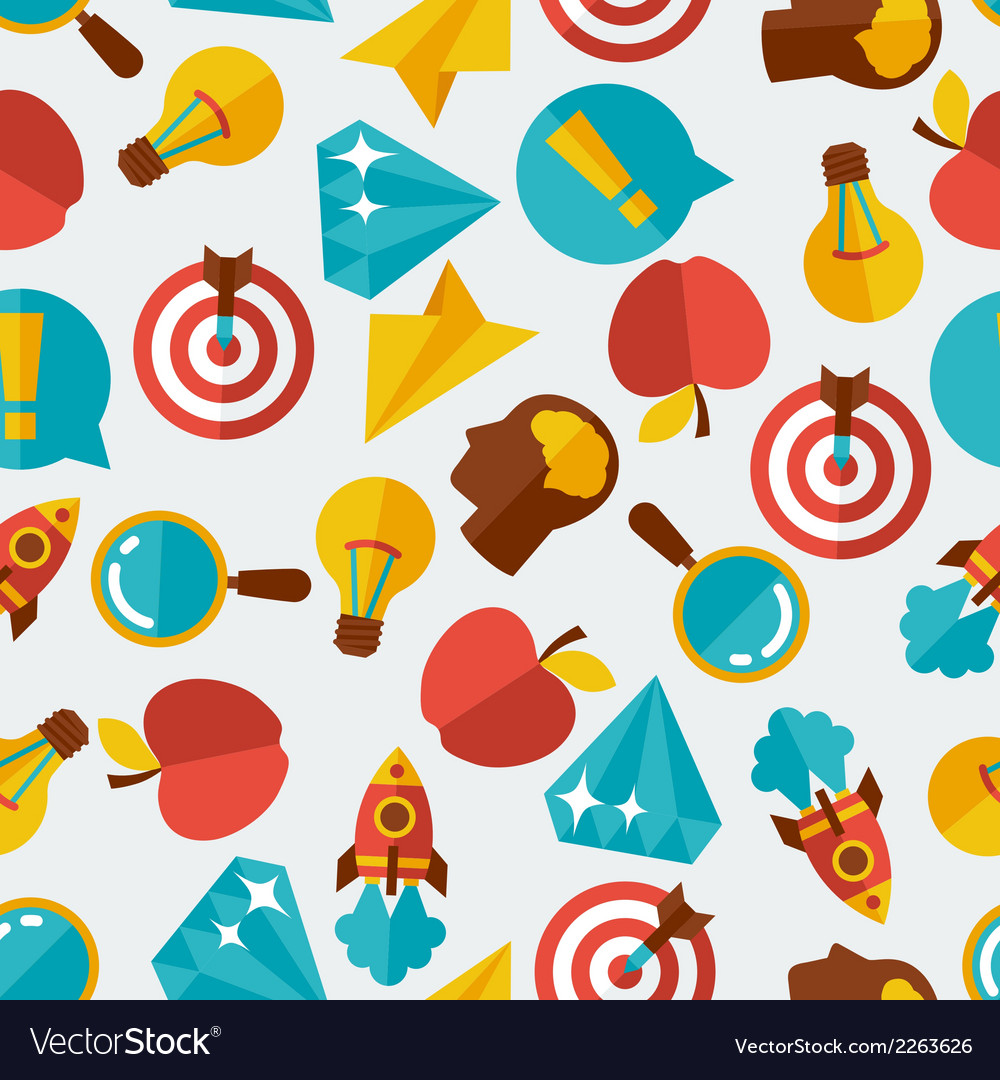 Idea concept seamless pattern in flat design style vector | Price: 1 Credit (USD $1)