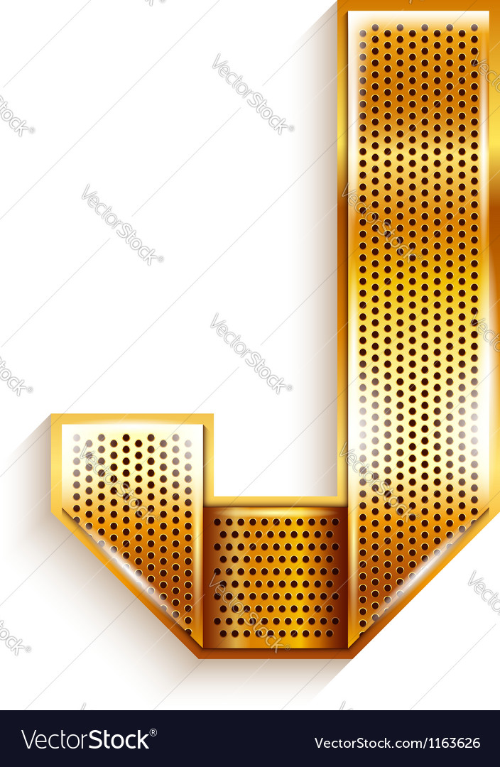 Letter metal gold ribbon - j vector | Price: 1 Credit (USD $1)