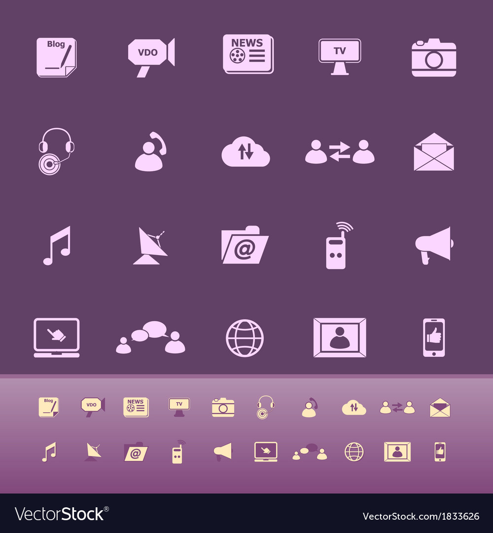 Media color icons on purple background vector | Price: 1 Credit (USD $1)