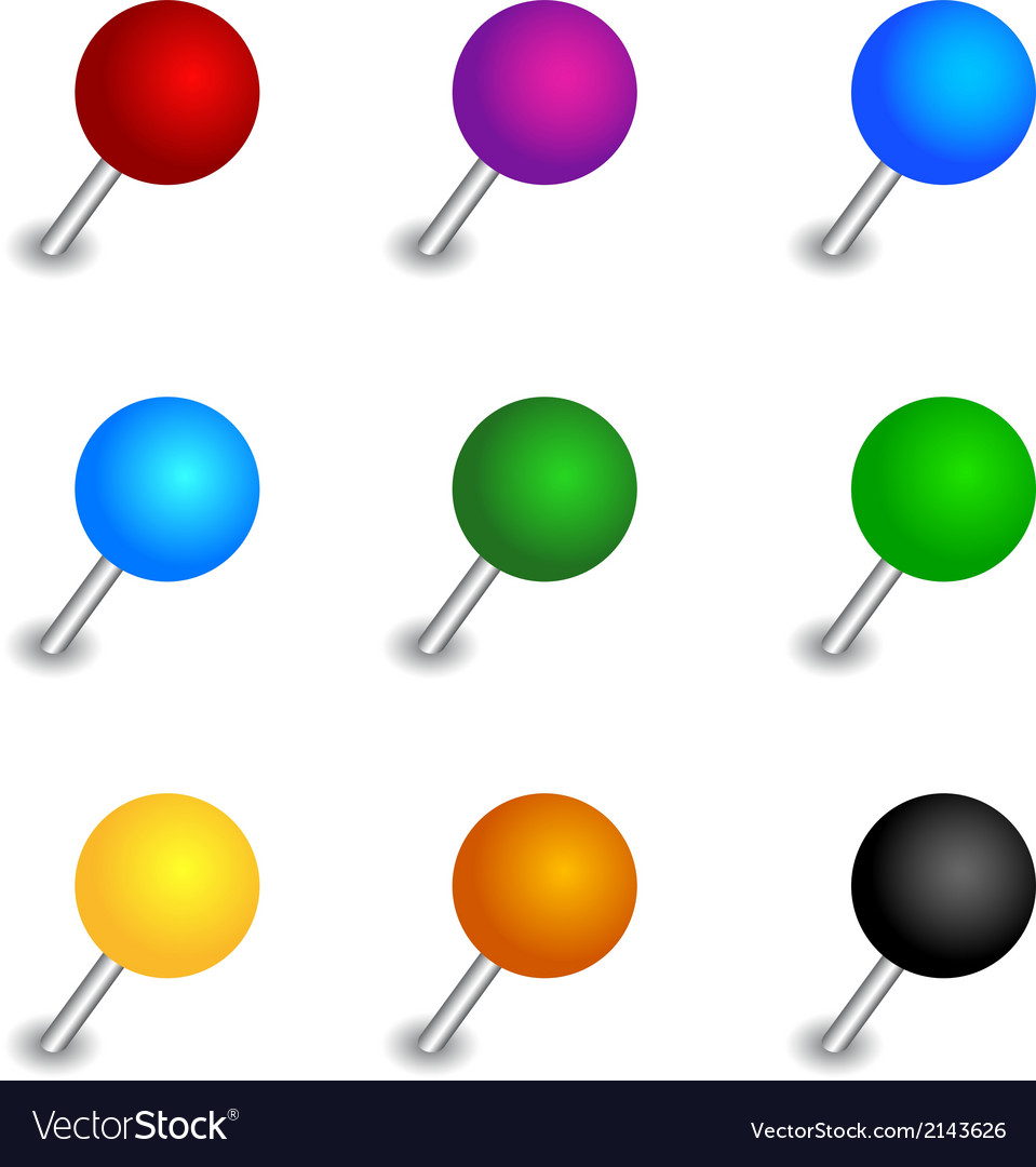 Round pushpin set vector | Price: 1 Credit (USD $1)