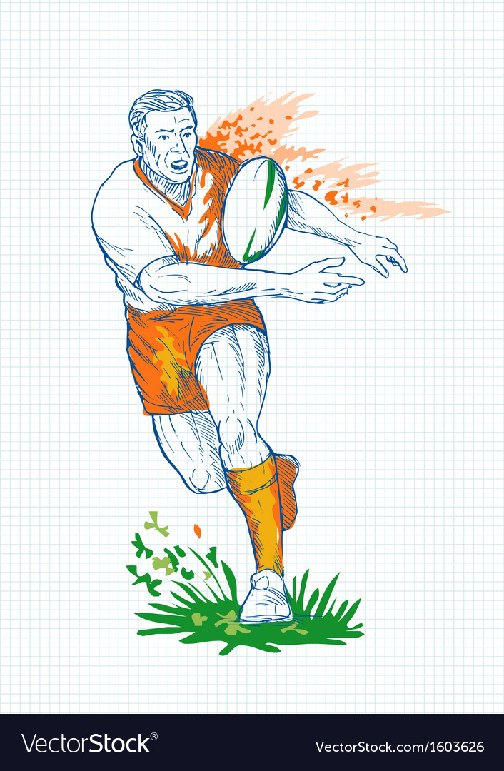 Rugby player running and passing ball vector | Price: 1 Credit (USD $1)