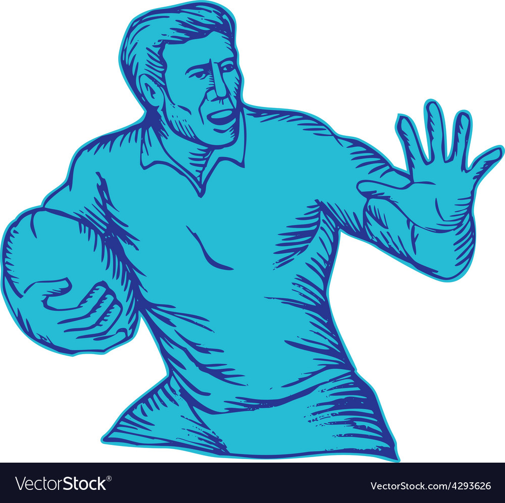 Rugby player running fending etching vector | Price: 1 Credit (USD $1)