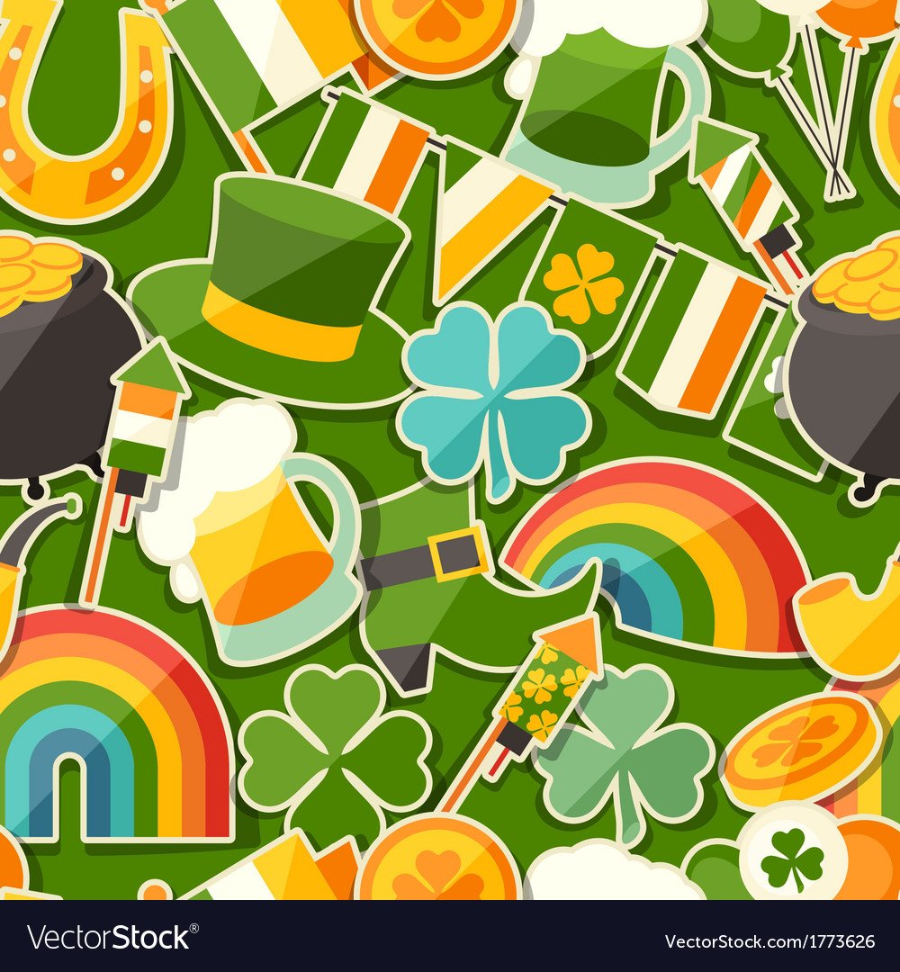 Saint patricks day seamless pattern with stickers vector | Price: 1 Credit (USD $1)