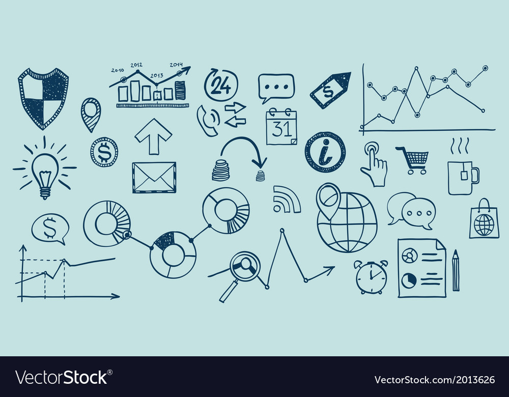 Set of hand drawn business finance elements vector | Price: 1 Credit (USD $1)