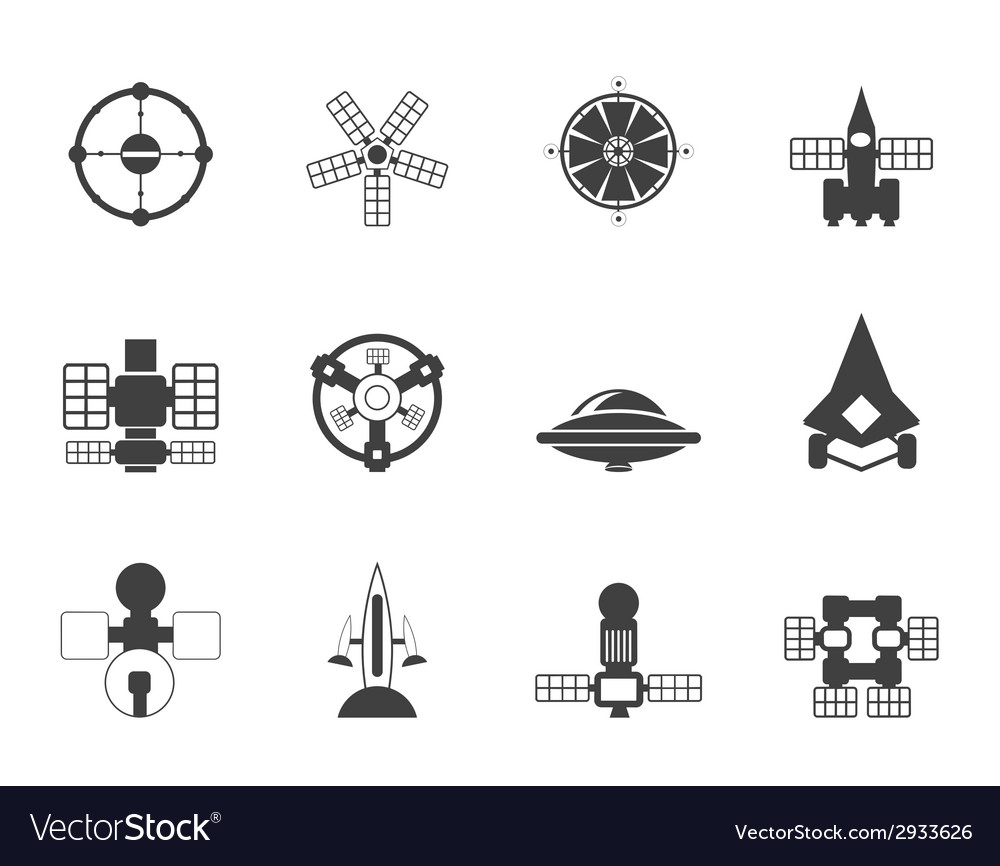 Silhouette future spacecraft icons vector | Price: 1 Credit (USD $1)