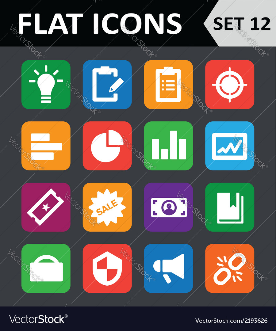Universal colorful flat icons set 12 vector | Price: 1 Credit (USD $1)