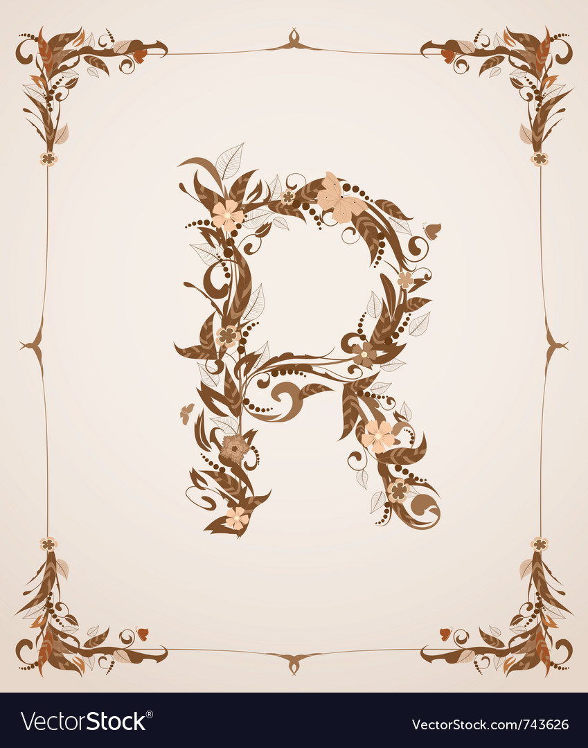Vintage letter r vector | Price: 1 Credit (USD $1)