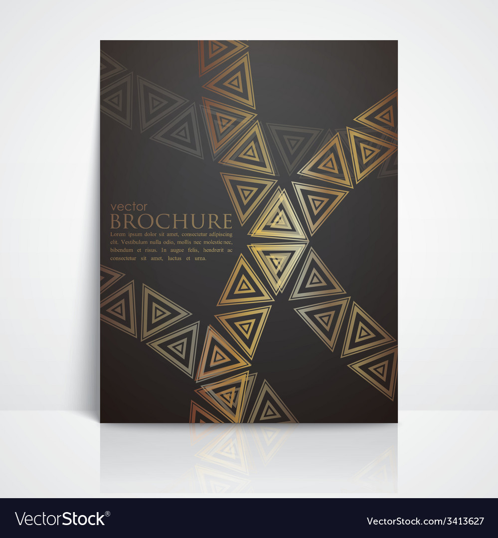 Background with golden triangles brochure template vector | Price: 1 Credit (USD $1)