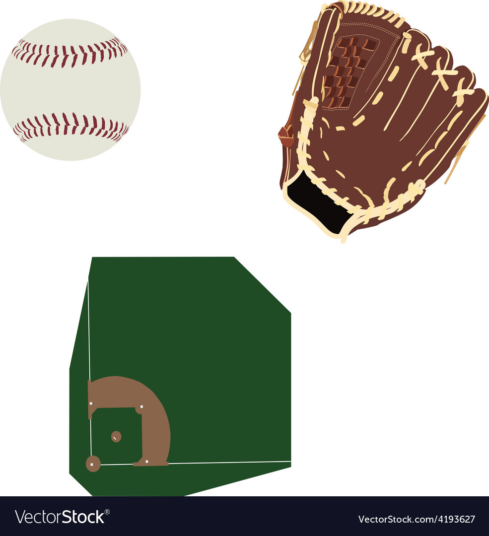 Baseball field ball and glove vector | Price: 1 Credit (USD $1)