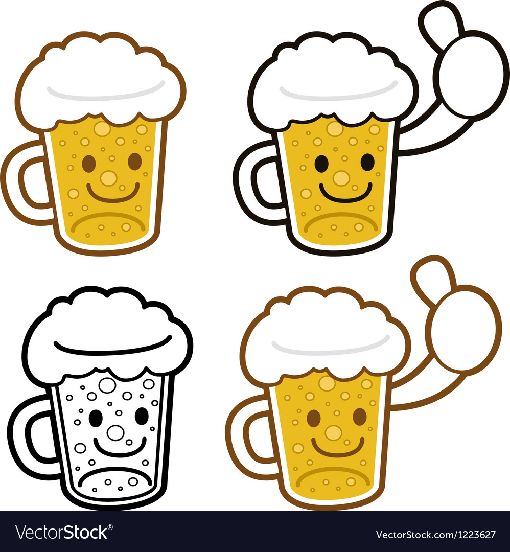 Beer cup mascot full of foam food and market vector | Price: 3 Credit (USD $3)