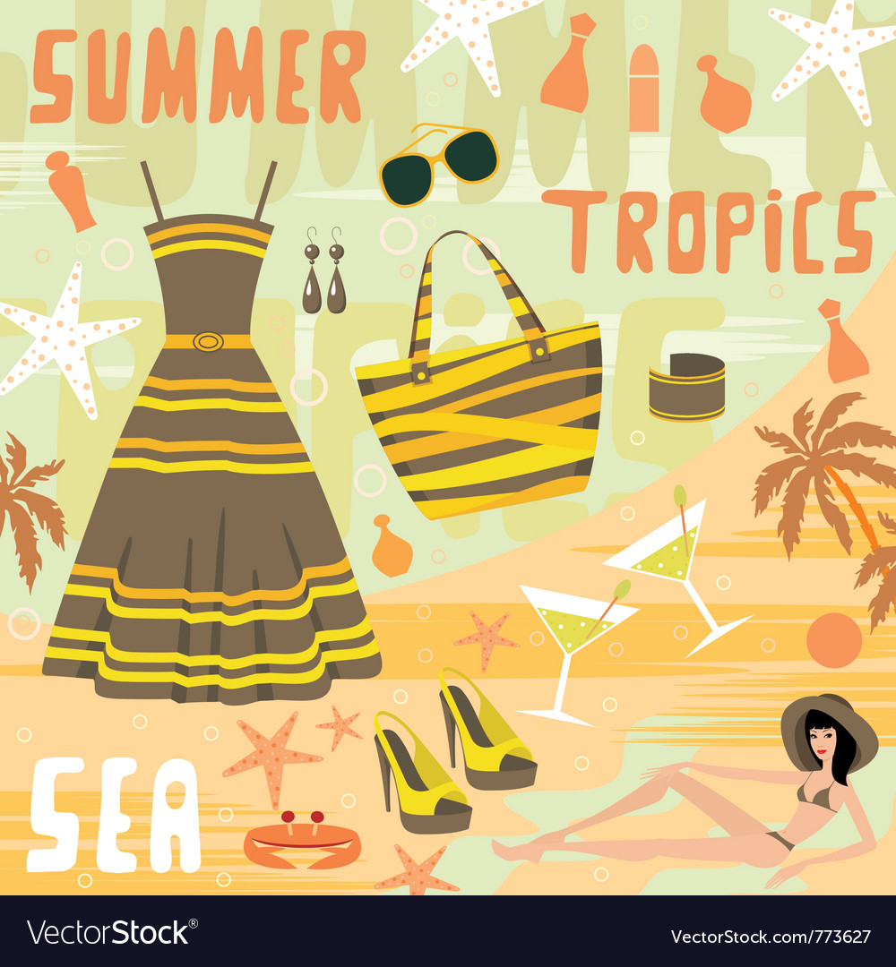 Fashion set summer clothes vector | Price: 1 Credit (USD $1)