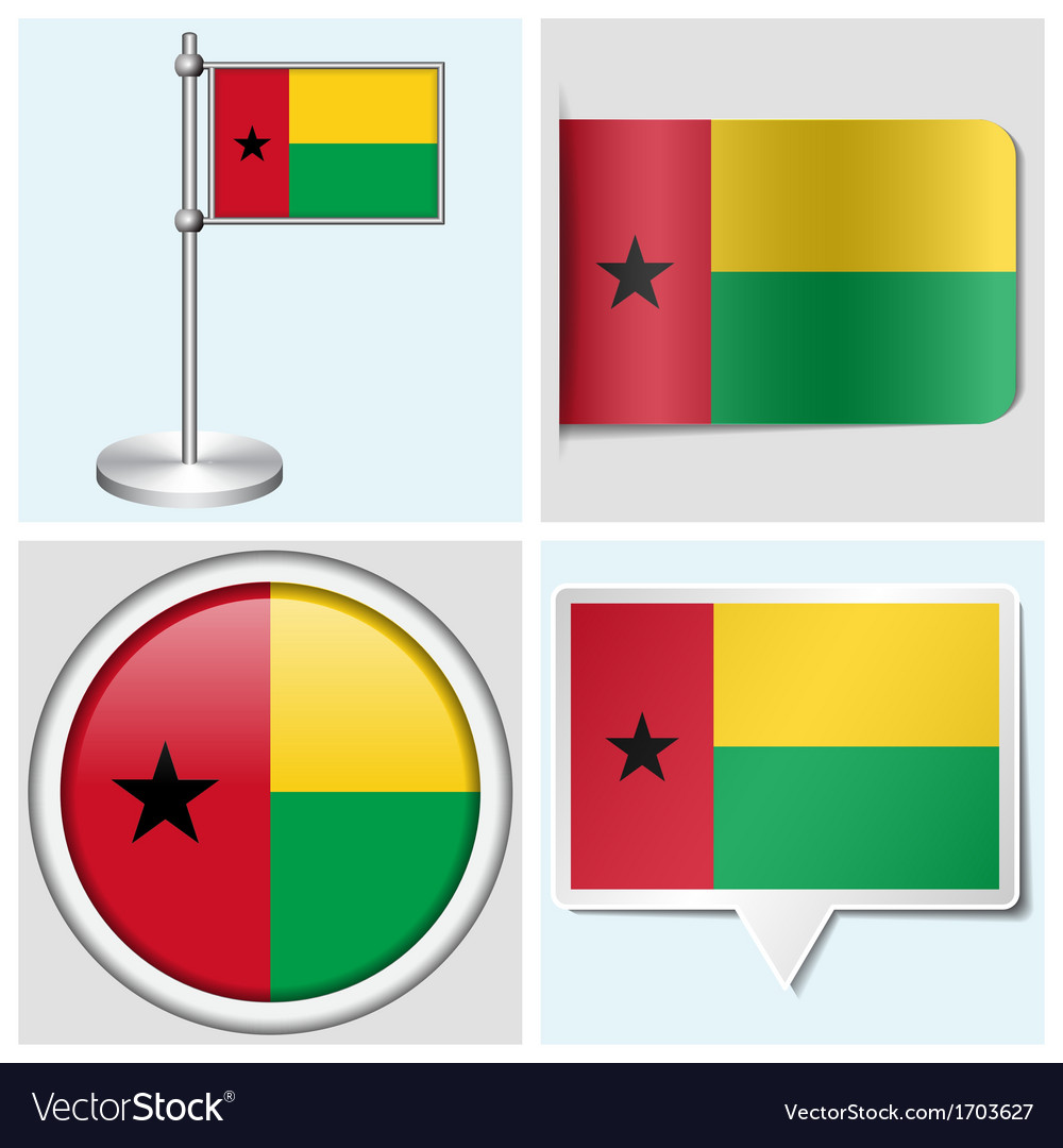 Guinea-bissau flag - sticker button label vector | Price: 1 Credit (USD $1)