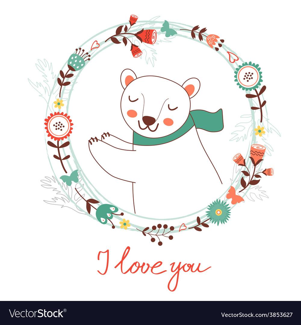 I love you card with polar bear vector   Price: 1 Credit (USD $1)