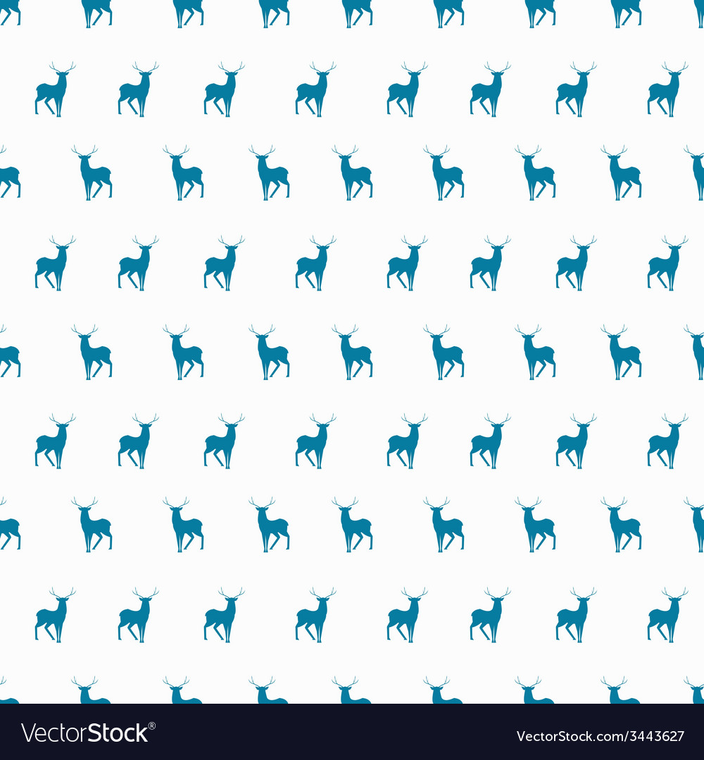 Minimalistic winter blue deer seamless pattern vector | Price: 1 Credit (USD $1)