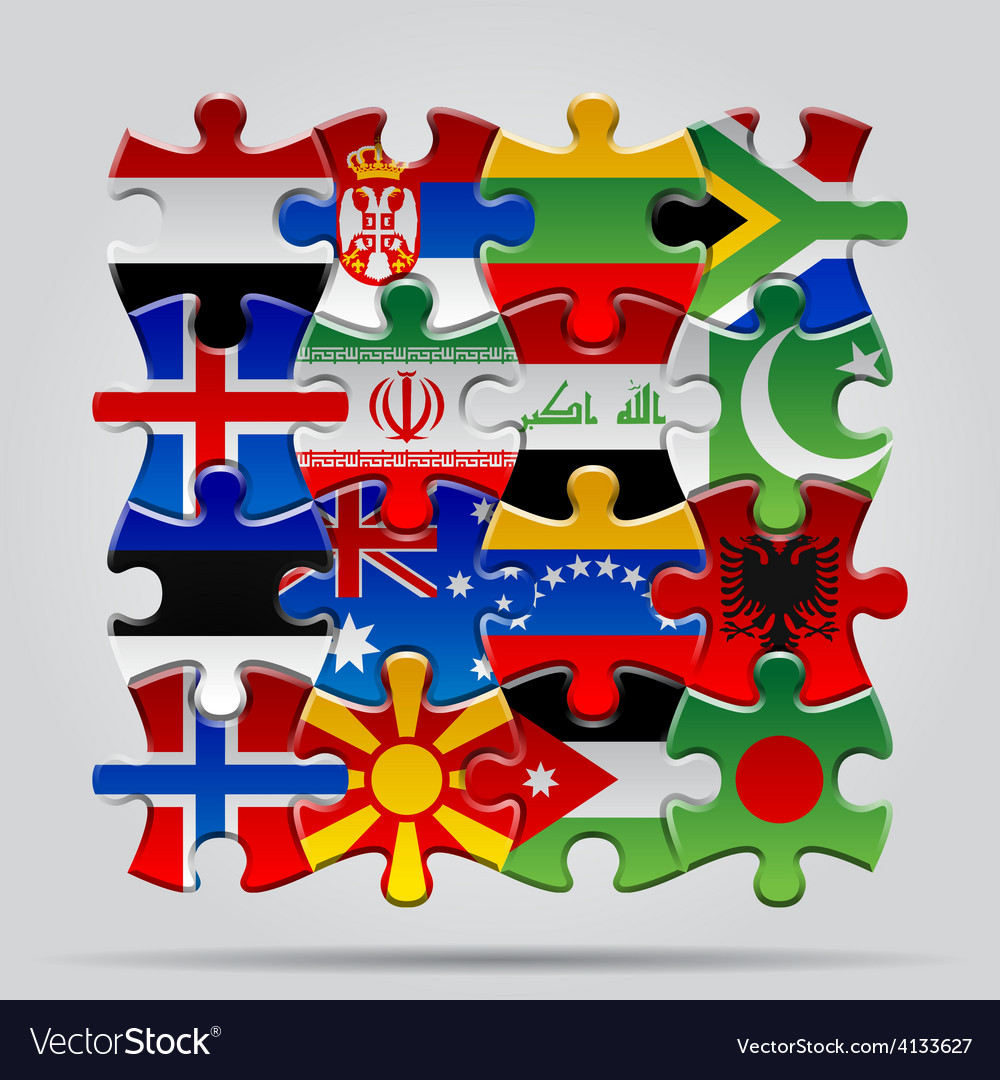 Puzzle flags vector   Price: 3 Credit (USD $3)