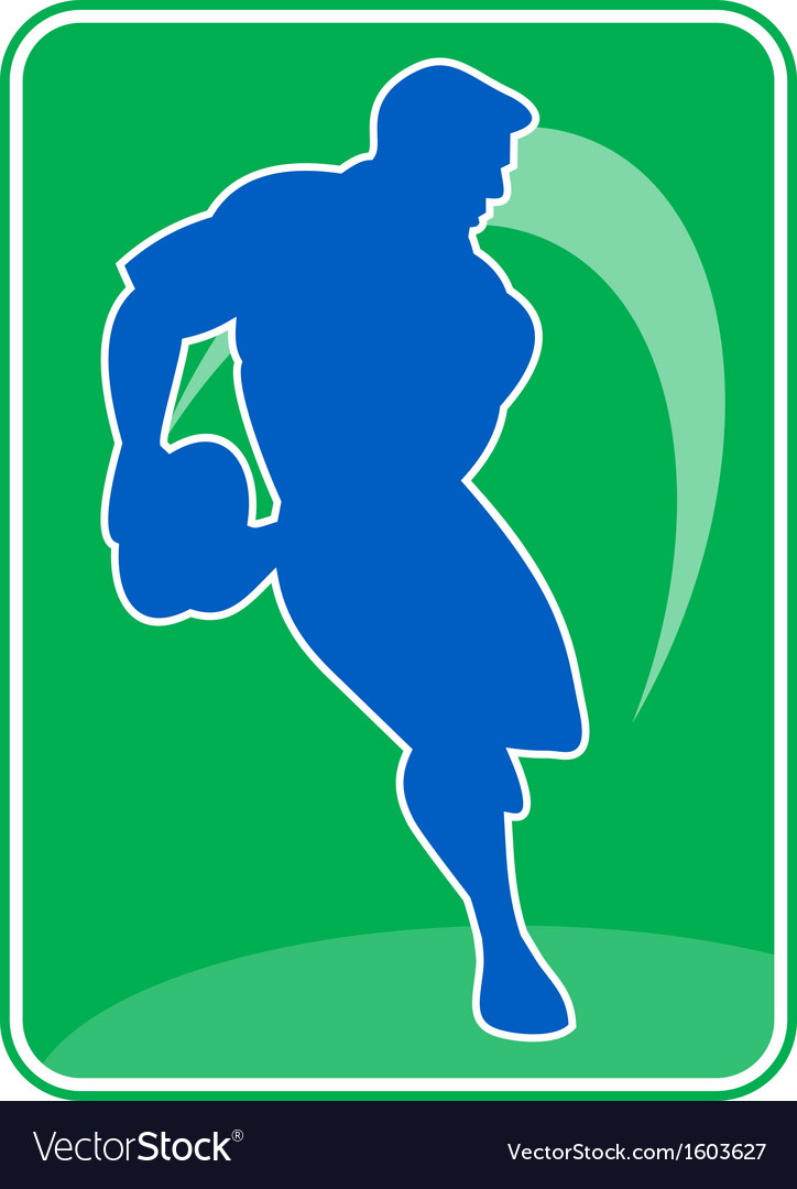 Rugby player running passing ball vector | Price: 1 Credit (USD $1)
