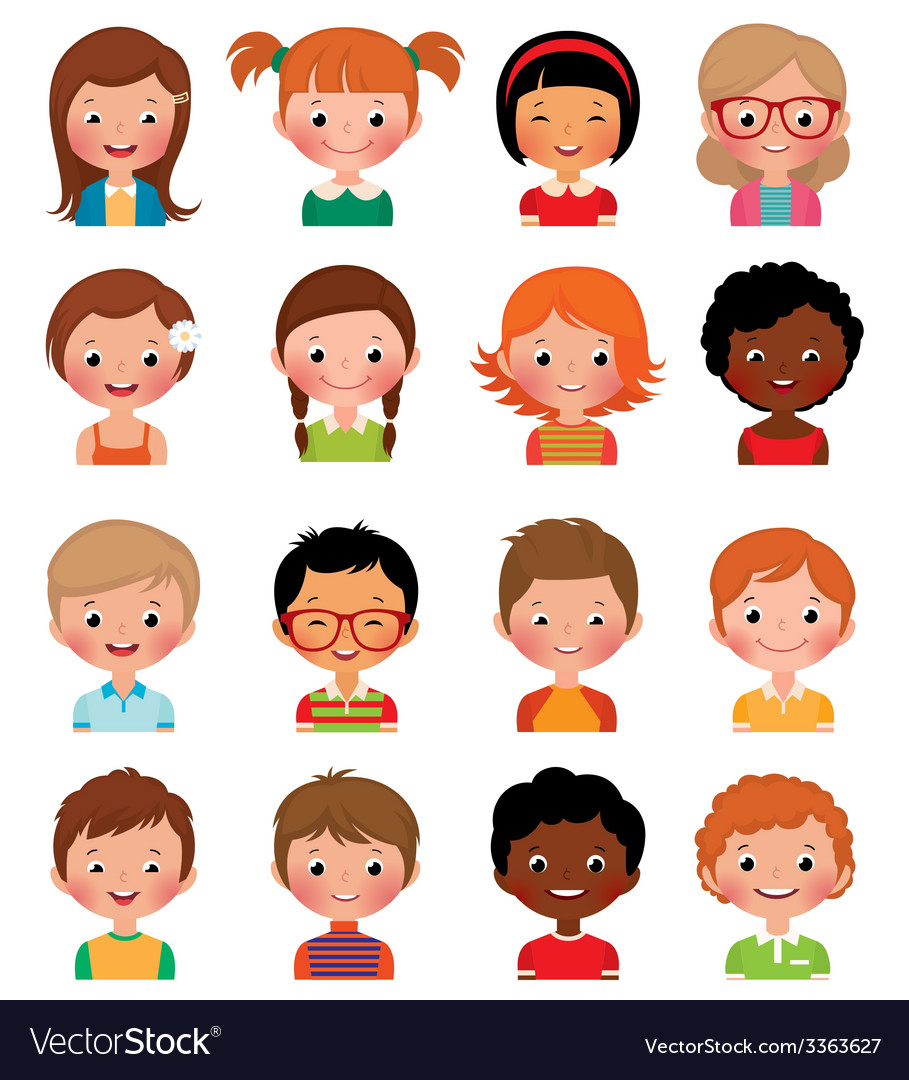 Set of avatars of different boys and girls vector