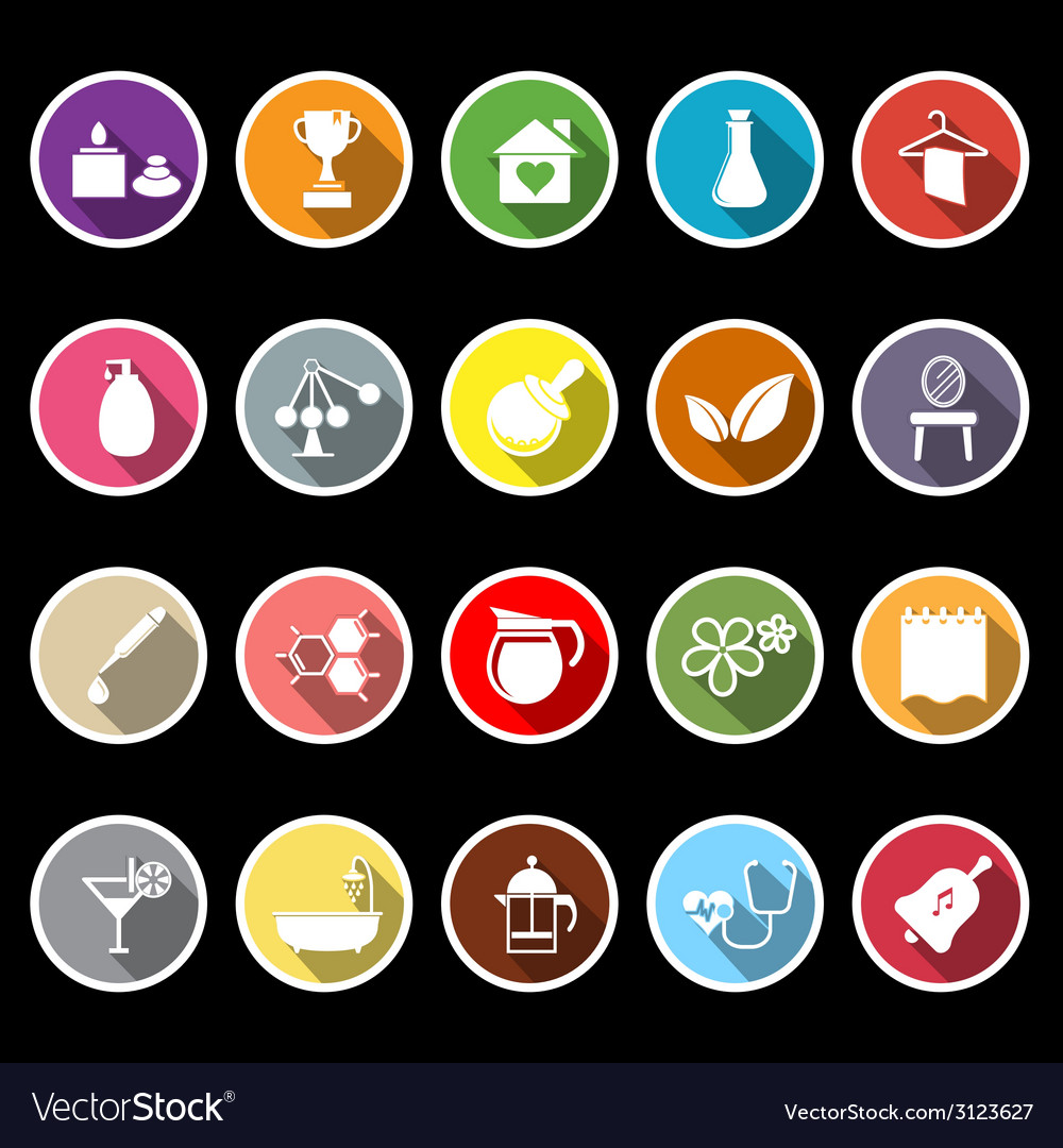 Spa treatment flat icons with long shadow vector   Price: 1 Credit (USD $1)