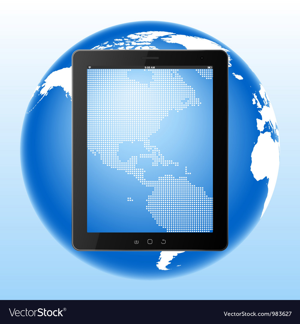 Tablet computer and earth vector | Price: 1 Credit (USD $1)