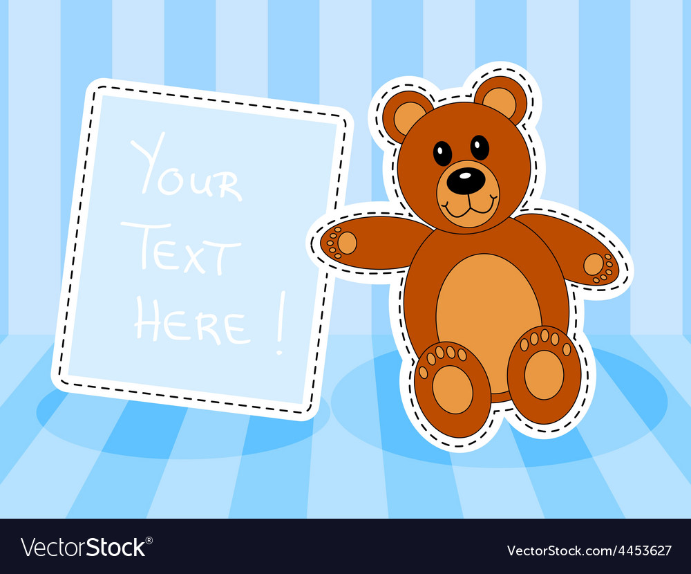 Teddy bear with blank sign in blue room vector | Price: 1 Credit (USD $1)