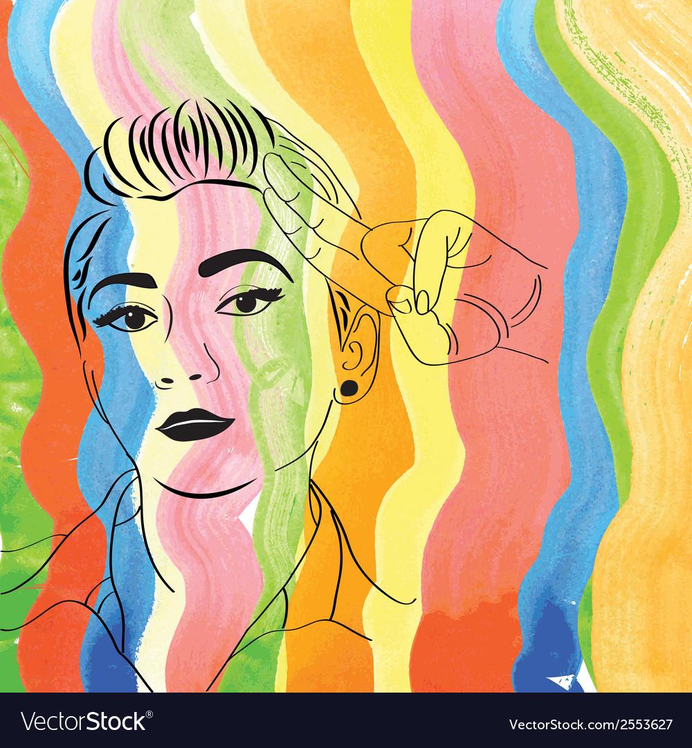 Vintage pop art girl vector | Price: 1 Credit (USD $1)