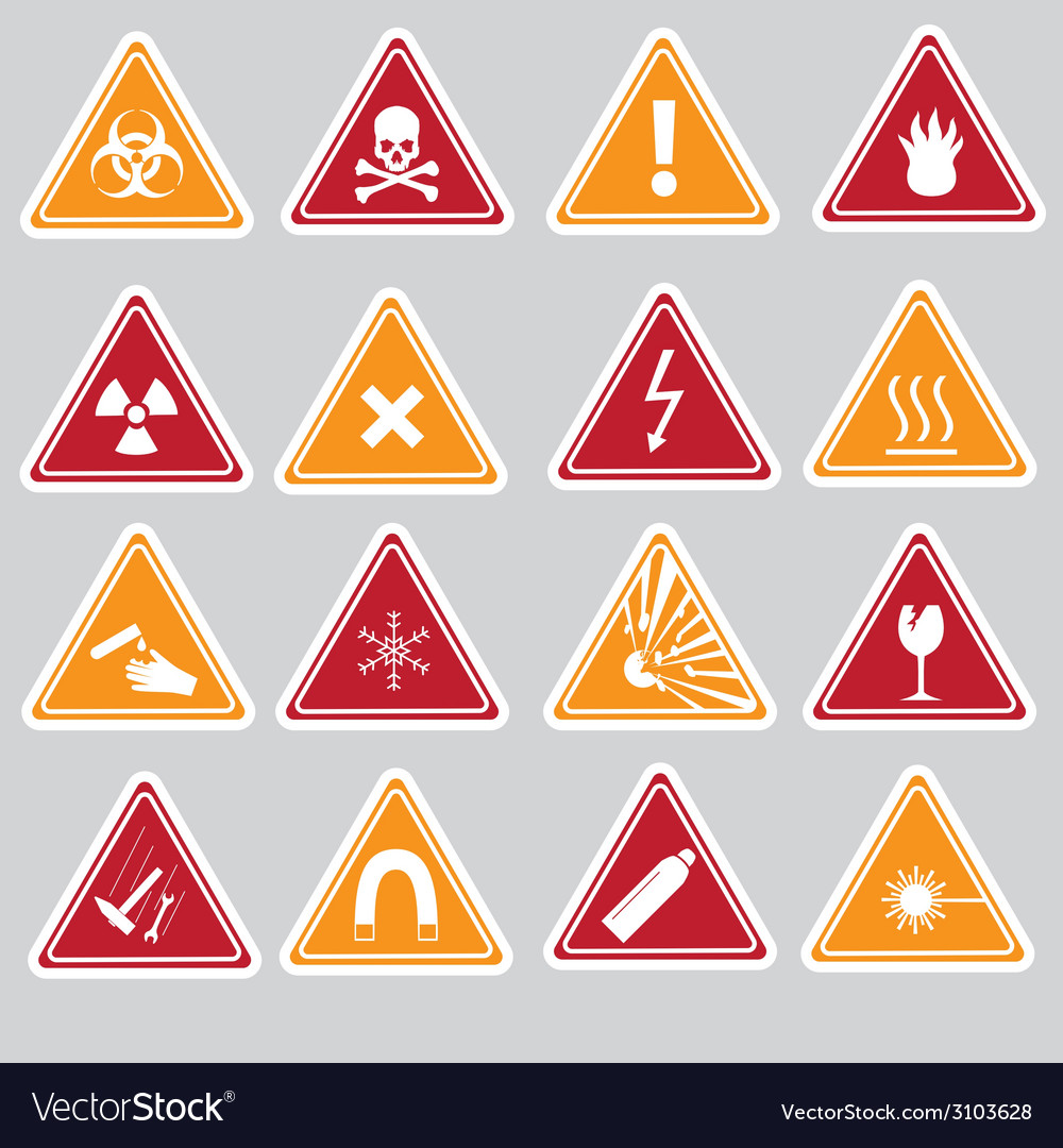 16 color danger signs types stickers eps10 vector | Price: 1 Credit (USD $1)