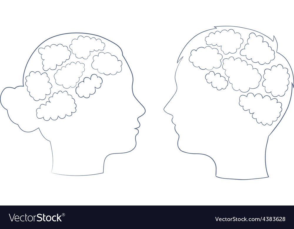 Boy and girl head with thought template vector | Price: 1 Credit (USD $1)
