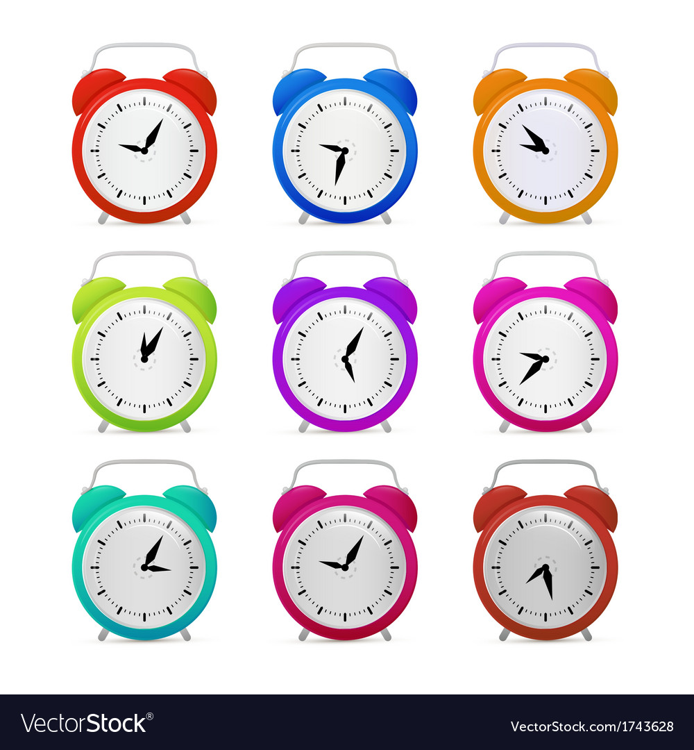Colorful alarm clock set vector | Price: 1 Credit (USD $1)